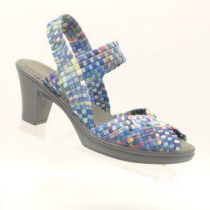 BM Bernie Mev Slingback Sandal Blue Woven Fabric